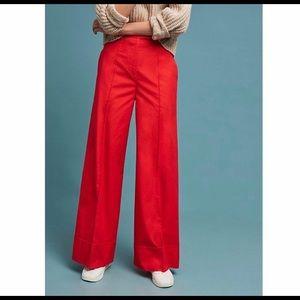 Anthropologie Poplin Wide Leg Trousers